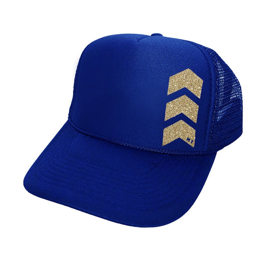 Chevron Royal Blue Trucker Hat by Mother Trucker & co. Adjustable Snap Closure