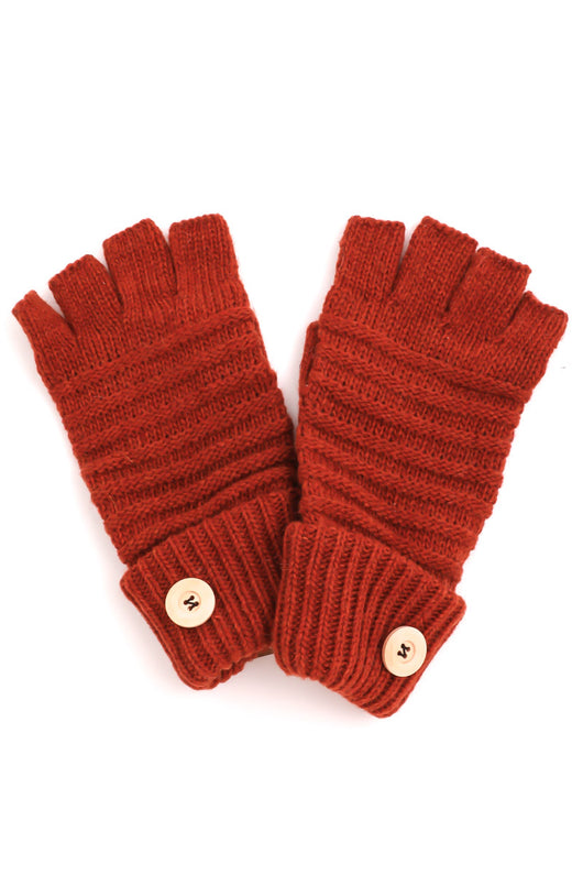 Rust Fingerless Gloves w/Button Detail