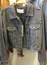 Distressed Grey Soft Denim Jacket w/Buttons & Pockets has a soft denim feel and will go with everything.  Take your outfit to the next level with OC Social Butterfly's hand selected, specially curated outerwear. You can't go wrong a great flannel, jean jacket or comfy vest.  Ships from the USA, OC Social Butterfly boutique, unique style, layer jacket