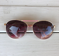 Aviator Sunglasses - Pink Frame with Gold is the perfect accessory. OC Social Butterfly brings together a specially curated collection of clothing and accessories. From the latest trends to the most comfortable everyday attire at an affordable price.   Ships from the USA, accessory, summer vibes, stylish sunglasses