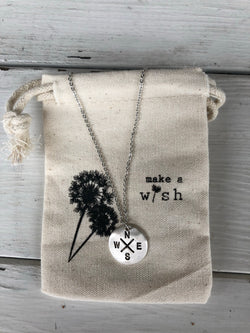 N. E. S. W. Silver Coin Necklace