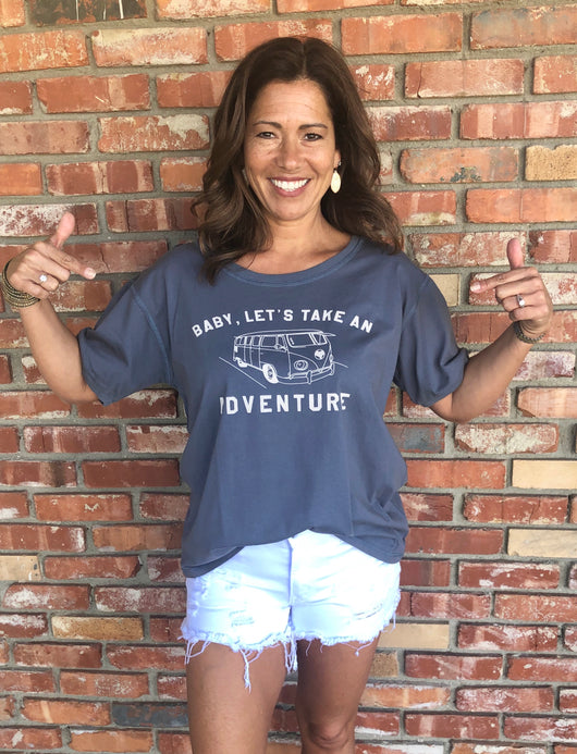 Slate Blue Boxy T-Shirt with Baby, Let's Take an Adventure