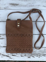 Genuine Leather Weaved Camel Crossbody Purse with adjustable strap and outside zipper pocket, fall fashion, accessories, Handbags, purse, OC Social Butterfly boutique, unique style, ships from the USA
