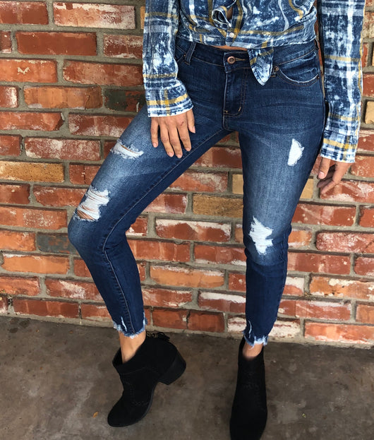 Blue Distressed Skinny Crop Jeans with Shredded Ankle by Hammer Jeans