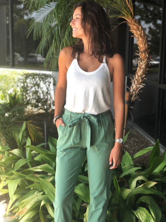 Sage Straight Leg Cuffed Pants w/Belt & Pockets