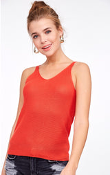 Papaya Orange Knit Tank is great for layered look and adds a pop of color to your outfit.  New Arrivals for the season with breathtaking color palettes by L Love USA.  Ships from the USA, OC Social Butterfly boutique, fashion trends, tank tops, unique style