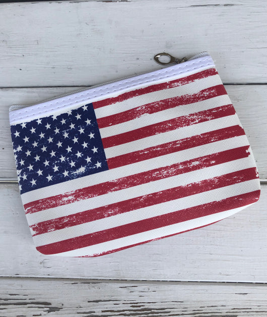 Small Distressed American Flag Cosmetic Bag