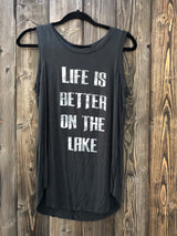 Life is Better on the Lake Black Draped Tank by Brokedown Clothing