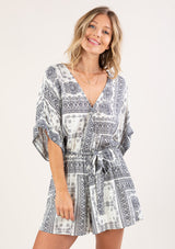 Ivory & Indigo Boho Print Cuffed Short Sleeve Romper with Tie Sash Belt by Lovestitch