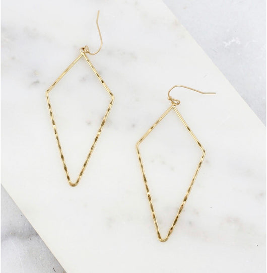 Gold Hammered Diamond Shape Fish Hook Earrings