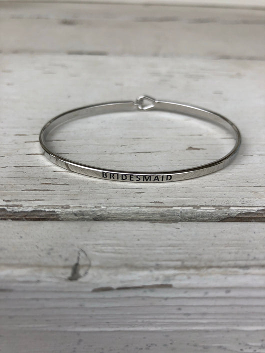 Bridesmaid Silver Inspirational Bangle Bracelet is perfect to layer and mix and match styles  Currently obsessing over stackable bracelets. Handmade Beaded Bracelets are our go-to. Social Butterfly brings together a specially curated collection of clothing and accessories. From the latest trends to the most comfortable everyday attire at an affordable price.  unique style, fashion trends, fashion jewelry, gifts, inspirational bracelets, mix and match, stackable bracelets  Ships from the USA