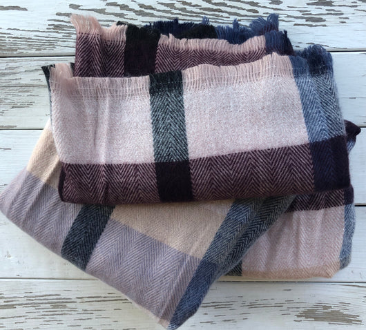 Wine, Grey, and Cream Multi Plaid Rectangle Scarf w/Frayed Edge