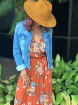 Rust Floral Wrap Midi Dress w/Spaghetti Straps and Tiered Bottom