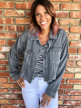 Distressed Grey Soft Denim Jacket w/Buttons & Pockets by Mustard Seed