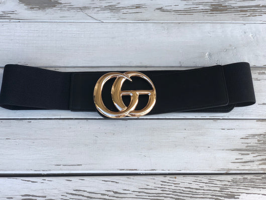 Plus Size Black Faux GO Gold Buckle Thick Belt