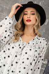 Off-White Star Print Flowy Blouse with Tie Collar, Puff Sleeves and a Ruffle Detail