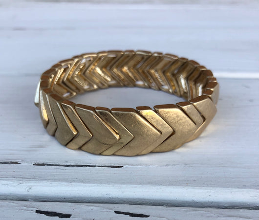 Gold Metal Chevron Stretch Bracelet