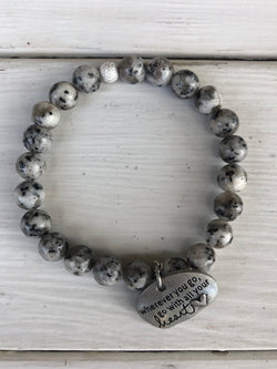 Handmade Beaded Bracelet - Speckled Grey Beads with Wherever you go, go with all your heart charm