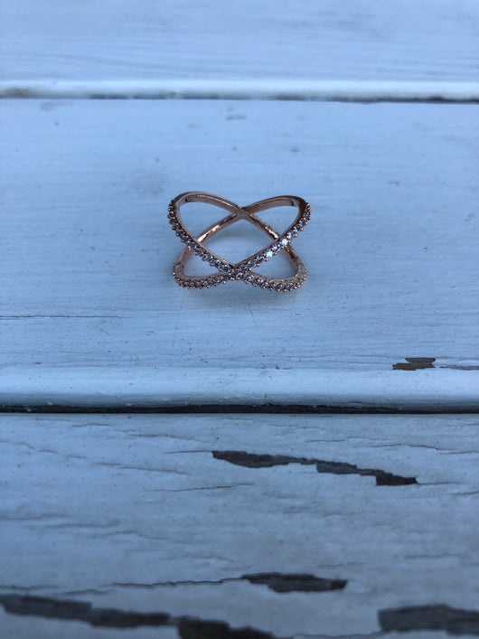Thin Rose Gold x Ring - OC Social Butterfly