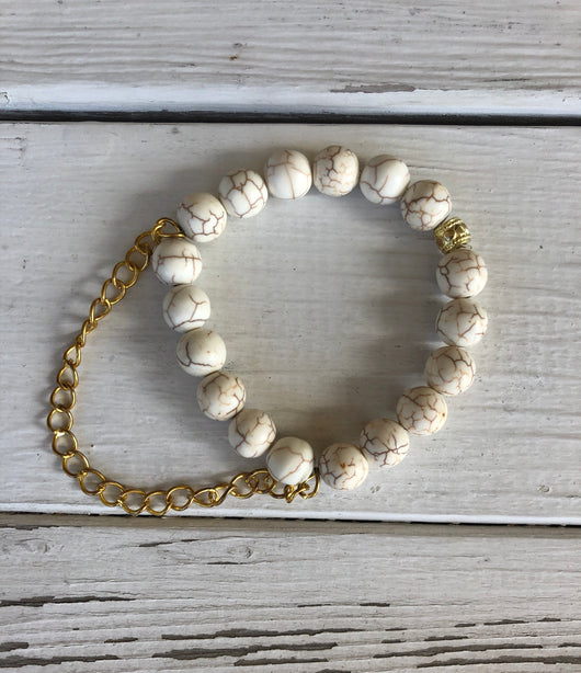 Handmade Beaded Bracelet - Crackled Cream Beads with a Gold Chain