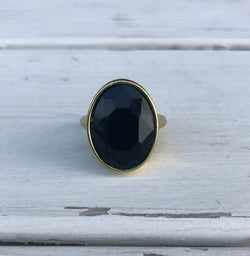 Black Large Stone Ring with Brass Band
