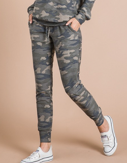 Army Green Camo Print Skinny Fit Jogger w/Drawstring Waistband