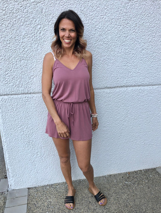 Mauve Strappy Shorts Romper with Drawstring Waistband