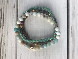 Turquoise, Natural and Glass Set of 3 Beaded Stretch Bracelets