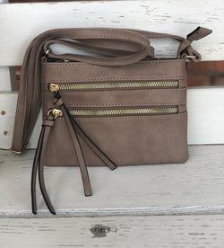 Small Khaki Crossbody Purse with Outside Pockets and Stripe Lining