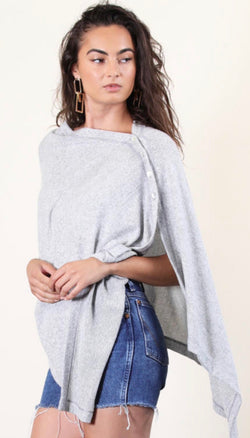 Brushed Knit Oatmeal Poncho W/Button Detail