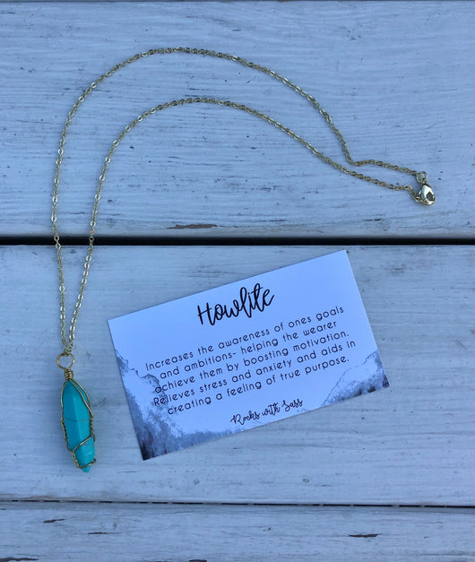 "Howlite Stone Wrapped in Gold Chain 18"" Handmade Necklace by Moondies   Take your outfit to the next level with OC Social Butterfly's accessory collection. Currently obsessing over layered necklaces and unique bold styles  Ships from the USA, unique style, fashion trends, trending jewelry, necklaces, bold jewelry, jewelry with a meaning card for each stone"