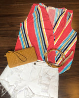 Colorful Coral Stripe Wrap Tank Top