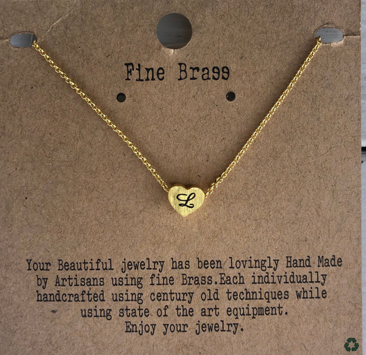 "Mini Gold Heart Initial ""L"" Necklace"