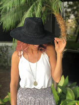 Black Felt Fedora Hat with Braided Rope Detail