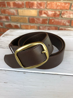 Brown Geniune Leather Belt with Gold Buckle  You can't go wrong adding a cute belt to any outfit. Check out our latest stylish belts.  Ships from the USA, unique style, fashion trends, country girl, stagecoach festival belts
