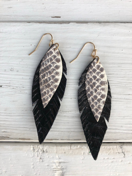 Black Layered Leather Snakeskin Leaf Cut-out Fish Hook Earrings