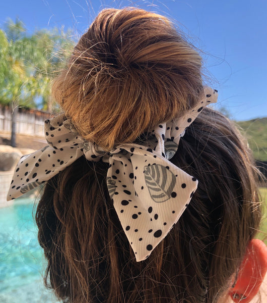 White & Green Leaf Print Top Knot Hair Scrunchie