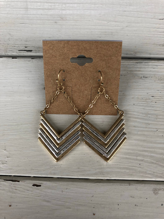 Gold & Silver Chevron Earrings