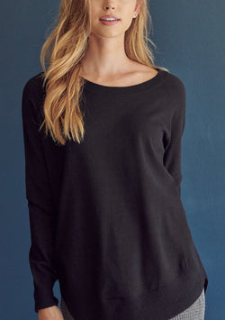 Round Neck Black Knit Sweater with Ribbed Side Detail