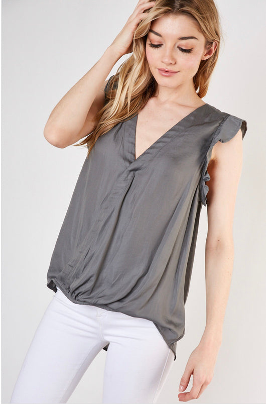 Grey Satin Wrap Top w/Ruffle Cap Sleeve   OC Social Butterfly brings together a specially curated collection of clothing and accessories. From the latest trends to the most comfortable everyday attire at an affordable price.   Ships from the USA, unique style, fall fashion, fashion trends, wrap tops, flirty look, mustard seed brand