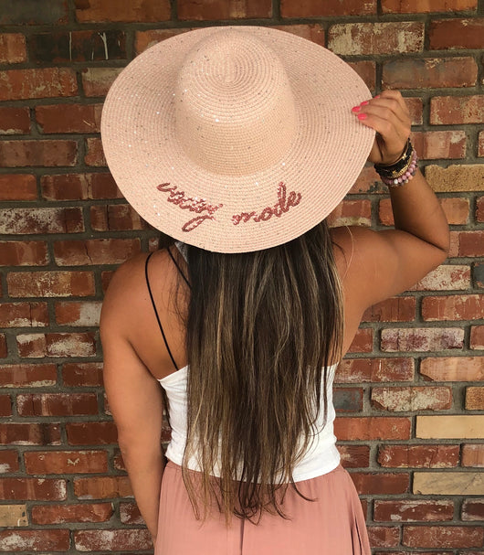 Blush With Sparkles Vacay Mode Floppy Hat with Adjustable Fit