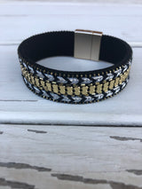 Black & Gold Magnetic Bracelet with Chevron Stitching