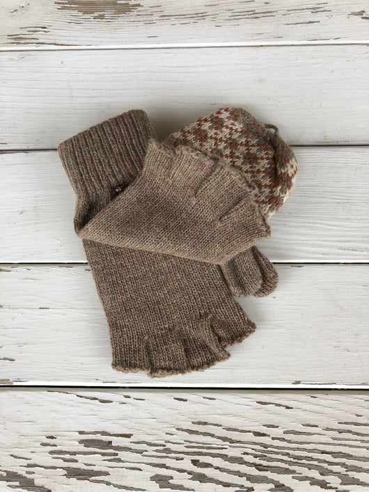 Tan Fingerless Gloves w/fold over mittens