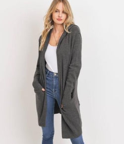 Grey Open Front Long Sleeve Hoodie Cardigan with Pockets