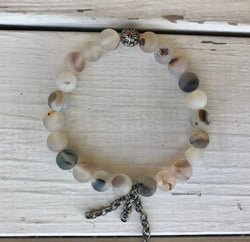 Handmade Beaded Bracelet - Natural Glass Beads w/Silver Chains