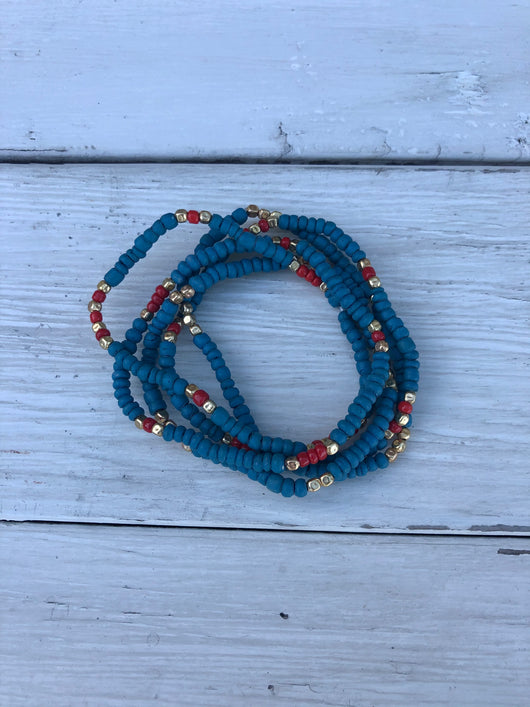 Teal Beaded Bracelets with Red and Gold Set of 5 Stretch