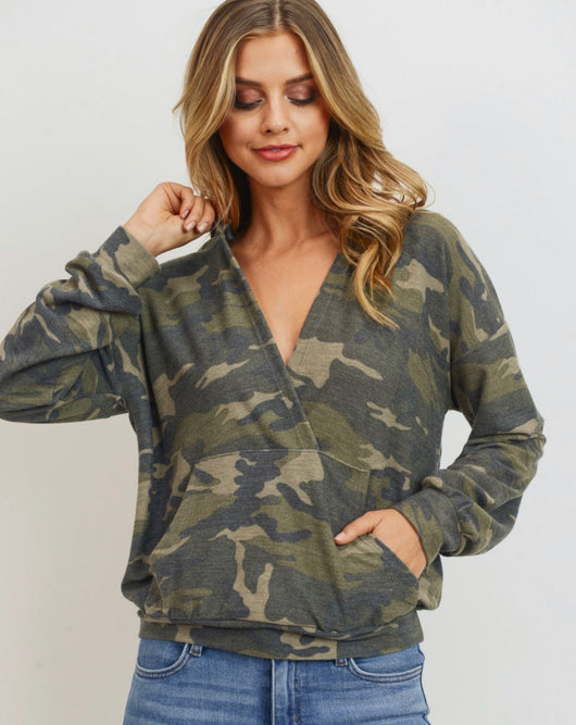 Camo Wrap Hoodie with Kangaroo Pocket by Lazy Sundays
