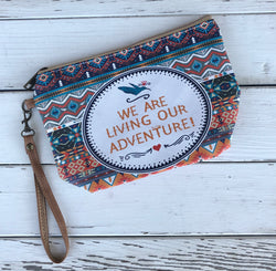 We Our Living Our Adventure Wristlet Pouch Bag