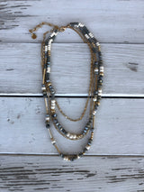 Gray, White & Gold Beads & Gold Chain Multi-layered Necklace