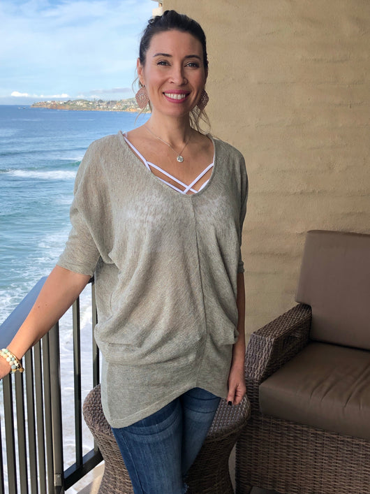 Sage Green Knit V-neck W/Open Back